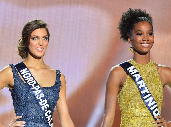 Iris Mittenaere et Morgane Edvige pendant l'élection de Miss France 2016