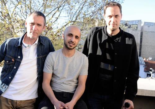 """Laurent Jacqua, Mehdi Idir, Grand Corps Malade à l'avant-première du court-métrage """"Le bout du tunnel"""" le 14 avril 2015"""