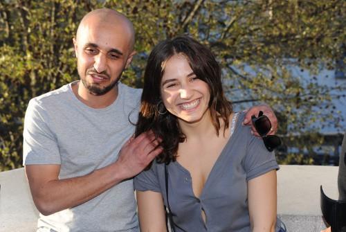 """Mehdi Idir et Izia Higelin à l'avant-première du court-métrage """"Le bout du tunnel"""" le 14 avril 2015"""