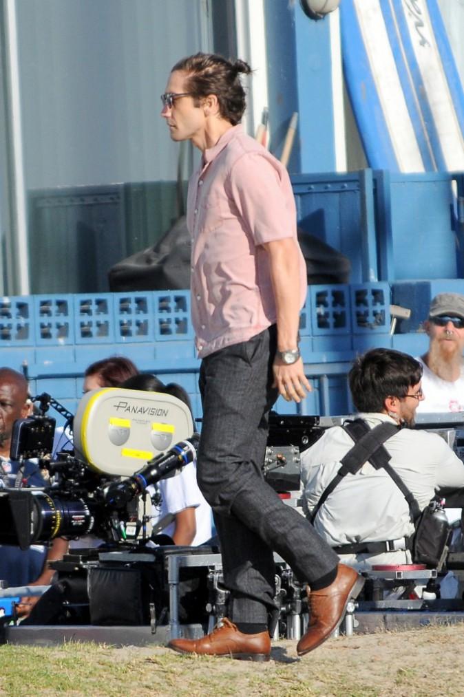 Jake Gyllenhaal sur le tournage de Nightcrawler à Los Angeles le 14 octobre 2013