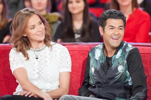 Jamel Debbouze et Mélissa Theuriau lors de l'enregistrement de Vivement Dimanche, le 25 mars 2015