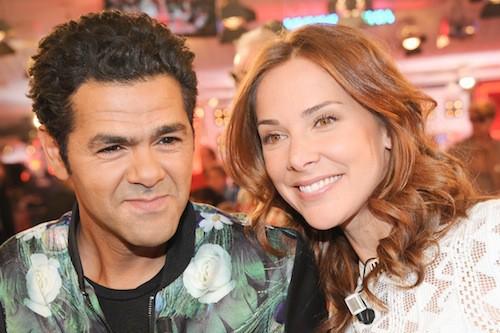 Jamel Debbouzze et Mélissa Theuriau lors de l'enregistrement de Vivement Dimanche, le 25 mars 2015