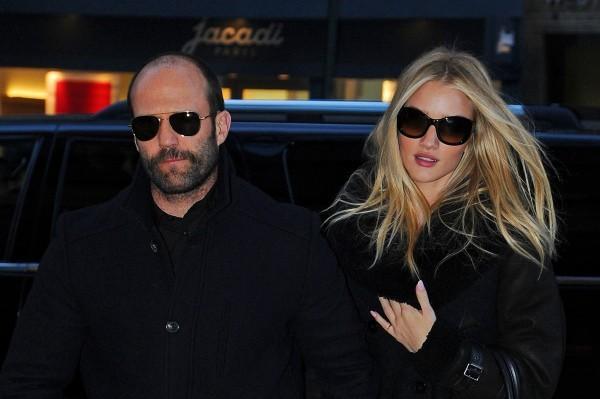 Jason Statham et Rosie Huntington-Whiteley à New York, le 23 janvier 2013.