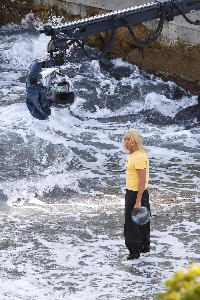 Jean Dujardin sur le tournage de Brice de Nice 3 le 18 septembre 2015