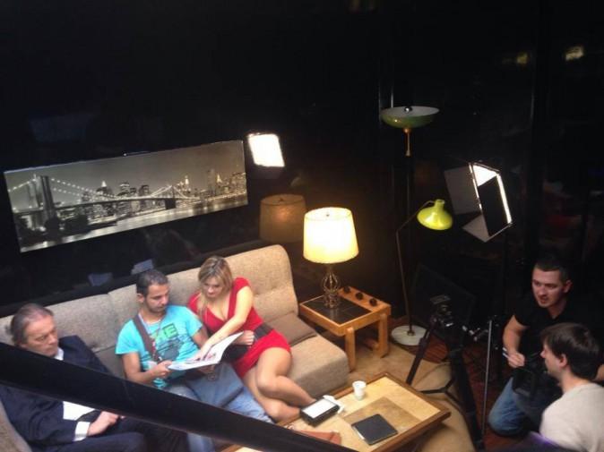 Jean-Michel Maire, Charlotte Aerts et Magid (le DA) sur le tournage de leur pub pour Egotabaco.