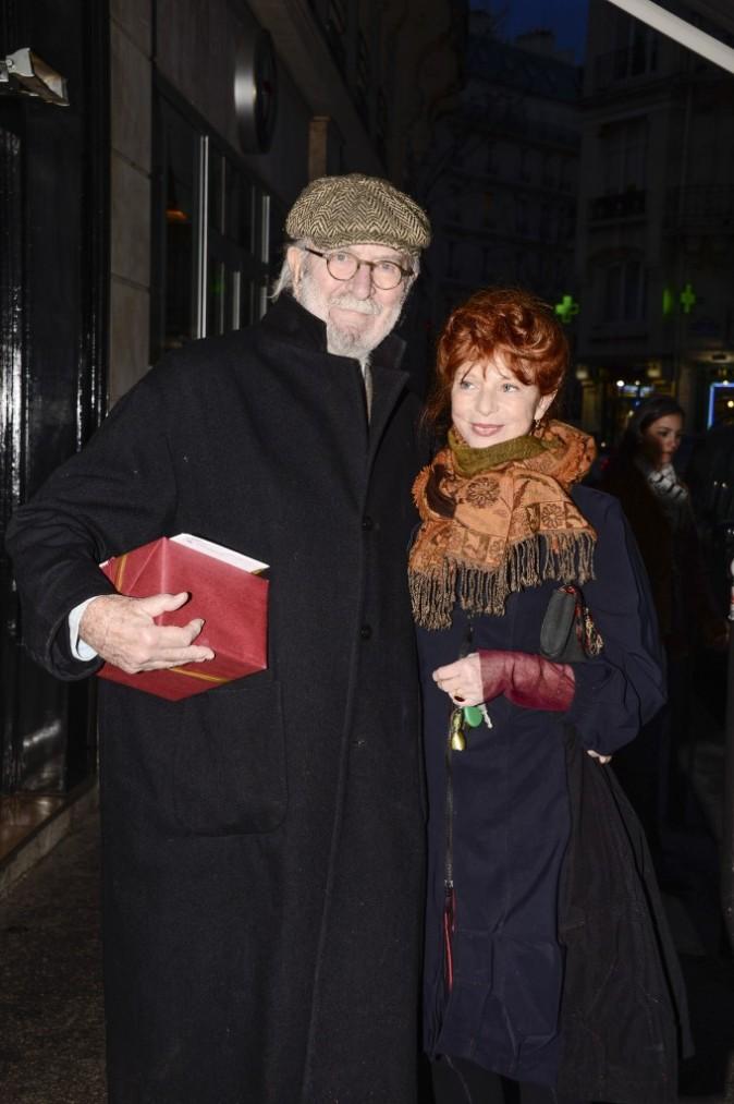 Jean-Pierre Marielle et sa femme à l'anniversaire de Jean-Paul Belmondo, le 9 avril 2013 à Paris
