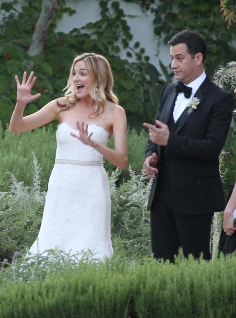 Jimmy Kimmel et Molly McNearney lors de leur mariage en Californie, le 13 juillet 2013.