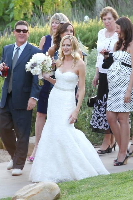 Molly McNearney lors de son mariage avec Jimmy Kimmel en Californie, le 13 juillet 2013.