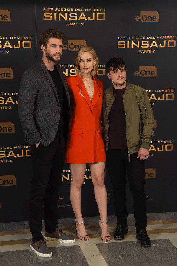 Liam Hemsworth, Jennifer Lawrence et Josh Hutcherson à Madrid le 10 novembre 2015