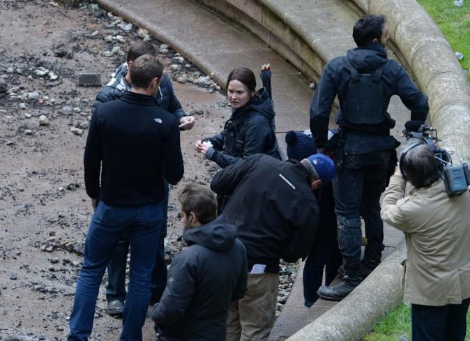 Jennifer Lawrence sur le tournge d'Hunger Games à Noisy Le Grand le 13 mai 2014
