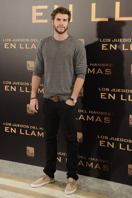 """Liam Hemsworth en promo à Madrid pour """"Hunger Games : L'Embrasement"""", le 13 novembre 2013."""