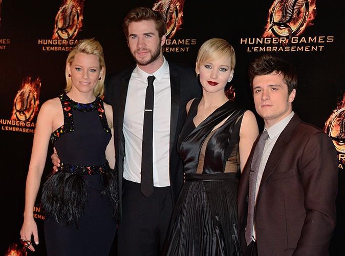 Elizabeth Banks, Liam Hemsworth, Jennifer Lawrence et Josh Hutcherson à Paris le 15 novembre 2013