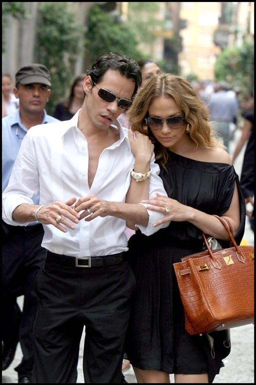 Jennifer Lopez et Marc Anthony en vacances à Milan, le 3 juillet 2008.