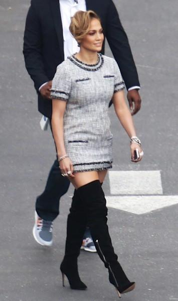 Jennifer Lopez se rend sur le plateau de l'émission American Idol, le 17 avril 2014.