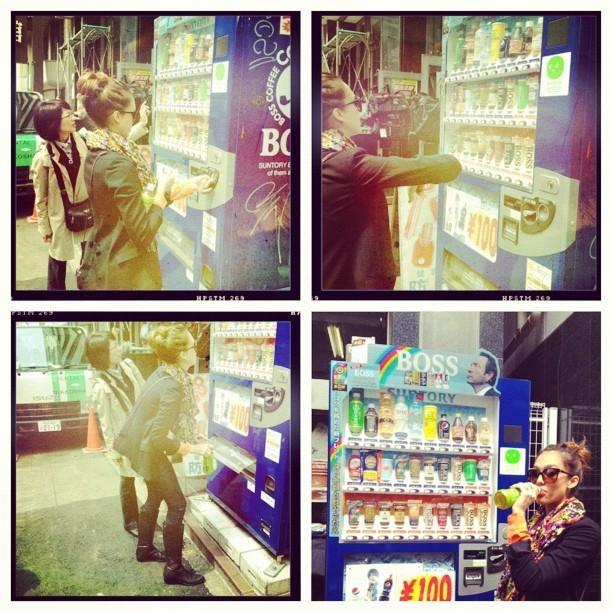 Testant un fameux distributeur dans la rue