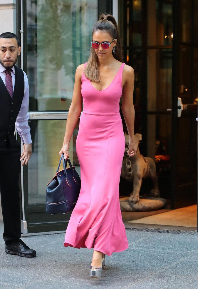 Jessica Alba à New York ce jeudi 25 août 2016