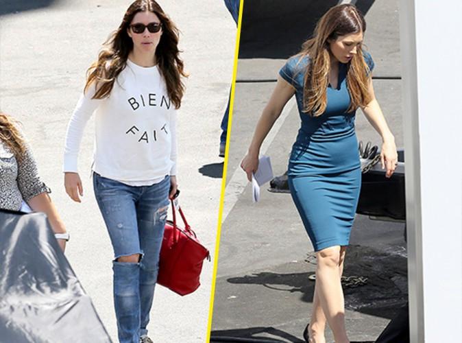 Jessica Biel : elle abandonne son look casual chic pour enfiler une robe glamour sur le tournage de New Girl !
