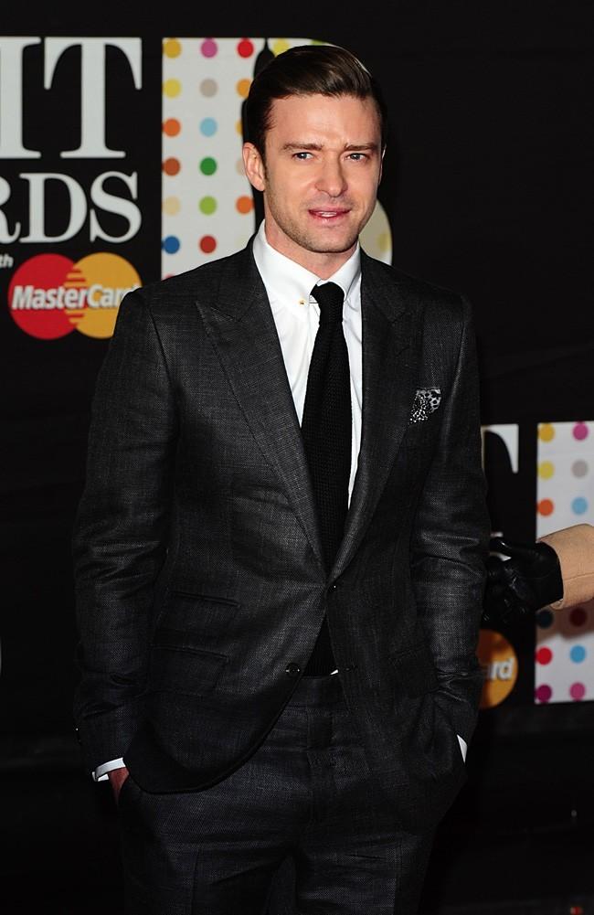Justin Timberlake sur le tapis rouge des Brit Awards à Londres le 20 février 2013