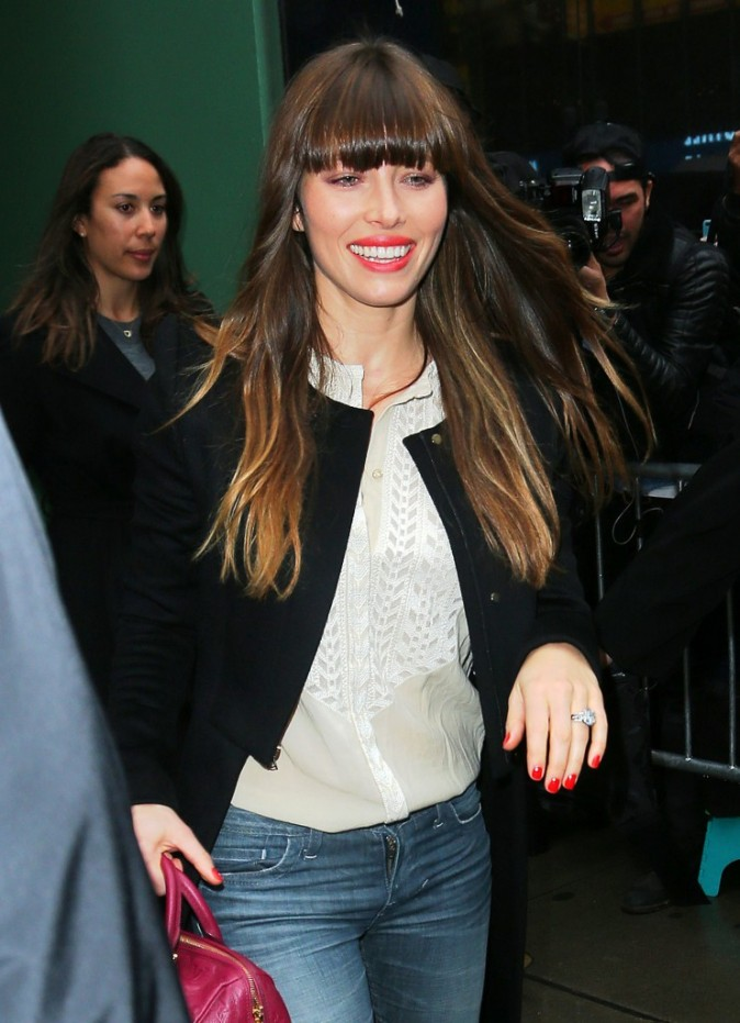 Jessica Biel quittant le studio de l'émission Good Morning America à New York, le 4 décembre 2012.