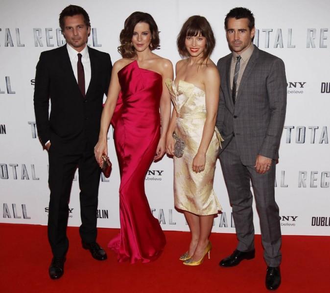 Kate Beckinsale, Jessica Biel et Colin Farrell le 14 août 2012 à Dublin