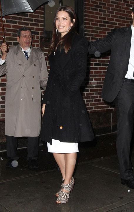 Jessica Biel à son arrivée au David Letterman Show !
