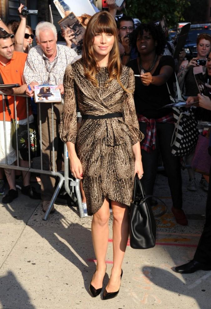 Jessica Biel se rendant sur le plateau de l'émission The Daily Show à New York, le 2 août 2012.