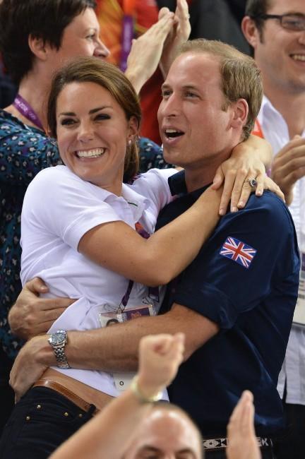Kate Middleton et le prince William lors de l'épreuve de cyclisme sur piste à Stratford, le 2 août 2012.