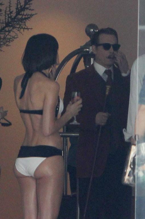 Johnny Depp sur le tournage de Mortdecai à Los Angeles le 6 janvier 2014
