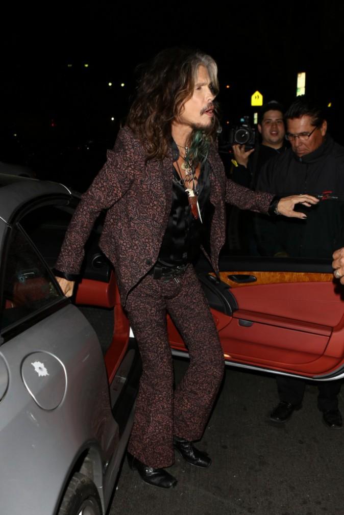 Steven Tyler arrive à la soirée des fiançailles de Johnny Depp et Amber Heard à Los Angeles, le 14 mars 2014.