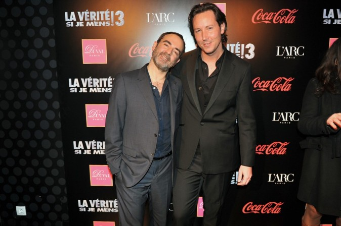 Bruno Solo et Gregory Lentz (équipe de l'Arc Paris) lors de l'after-party du film La Vérité Si Je Mens 3 à L'Arc à Paris, le 30 janvier 2012.