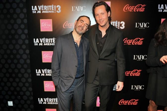 Bruno Solo et Gregory Lentz (équipe de l'Arc Paris) lors de l'after-party du film La Vérité Si Je Mens 3 à L'Arc à Paris, le 30 janvier 2012.