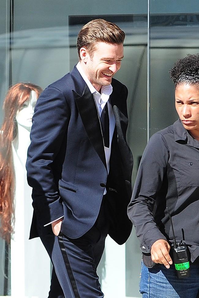 Justin Timberlake sur le tournage du clip Suit & Tie à Los Angeles le 25 janvier 2013