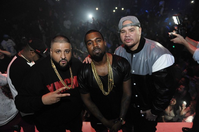 DJ Khaled, Kanye West et Fat Joe en soirée à Miami, le 26 novembre 2012.