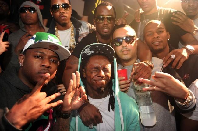 P. Diddy, French Montana et Lil Wayne lors de la soirée d'anniversaire de DJ Khaled à Miami, le 26 novembre 2012.