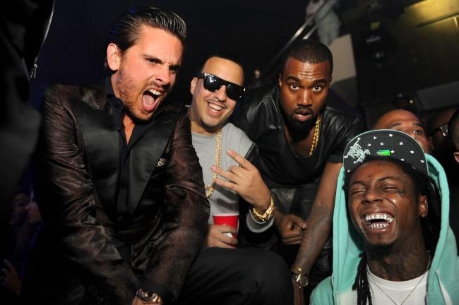 Scott Disick, French Montana, Kanye West et Lil Wayne lors de la soirée d'anniversaire de DJ Khaled à Miami, le 26 novembre 2012.
