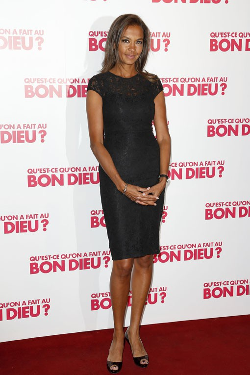 """Karine Le Marchand à l'avant-première de """"Qu'est ce qu'on a fait au bon Dieu ?"""", à Paris, le 10 avril 2014"""