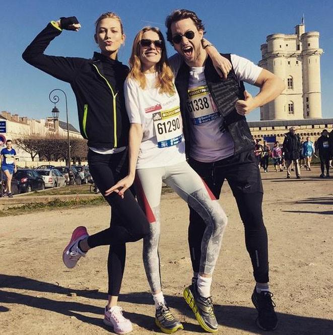 Karlie Kloss et Natalia Vodianova au semi-marathon de Paris le 8 mars 2015