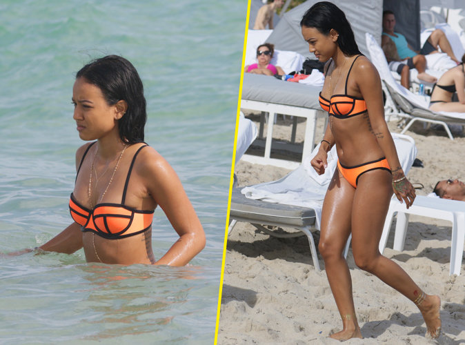 photos karrueche tran bikini et ventre plat une na ade ultra hot miami. Black Bedroom Furniture Sets. Home Design Ideas