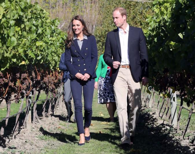 Kate Middleton et le Prince William lors de la visite du vignoble d'Otago Wines Amisfield le 13 avril 2014