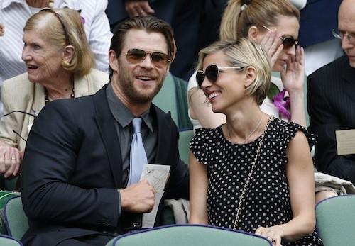 Chris Hemsworth et Elsa Pataki à Wimbledon, le 6 juillet 2014