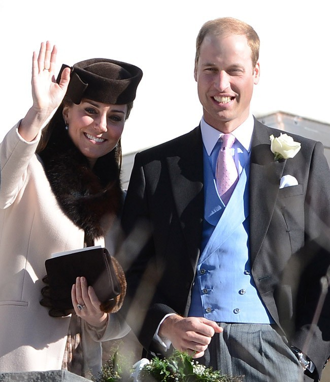 Kate Middleton et le Prince William au mariage de Mark Tomlinson et Laura Bechtolsheimer en Suisse le 2 mars 2013