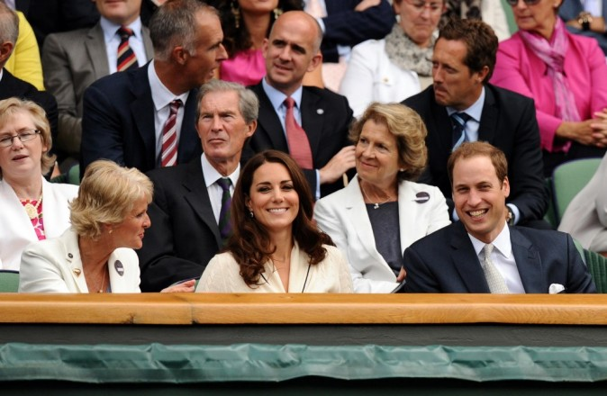 Kate Middleton et le prince William lors du tournoi de Wimbledon à Londres, le 4 juillet 2012.