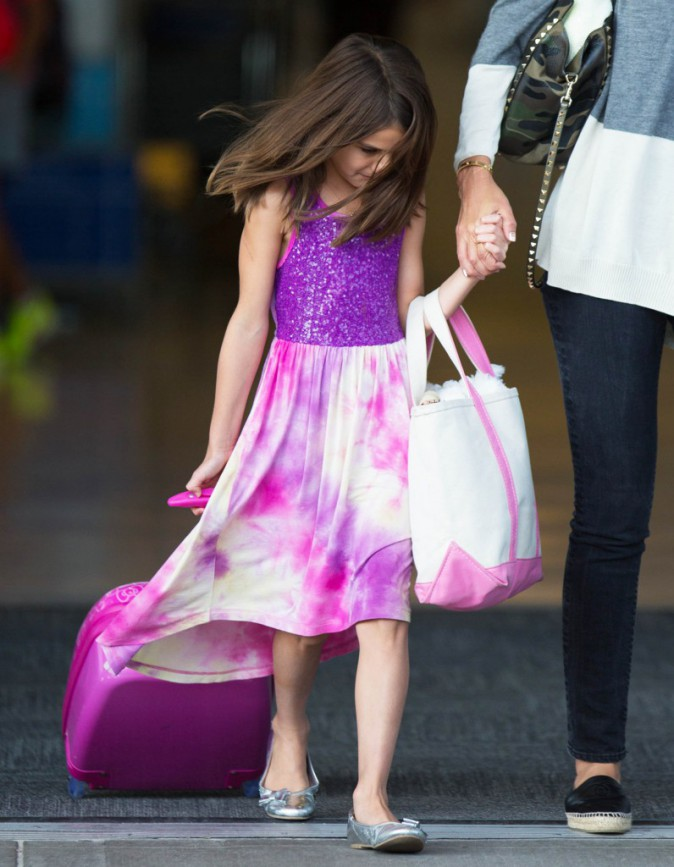 Katie Holmes et Suri Cruise à l'aéroport de New York le 23 juillet 2014