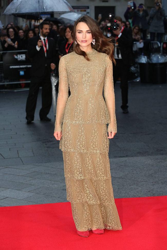 Keira Knightley à l'avant-première du film Initation Game organisée à Londres le 8 octobre 2014