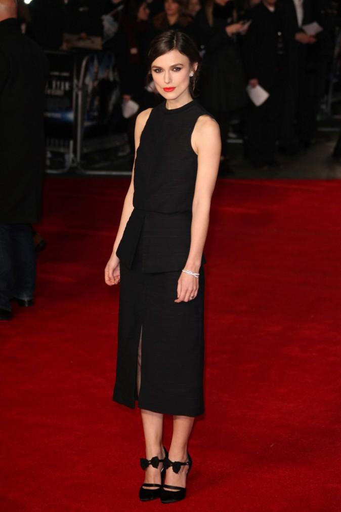 """Keira Knightley lors de la première de """"The Ryan Initiative"""" à Londres, le 20 janvier 2014."""