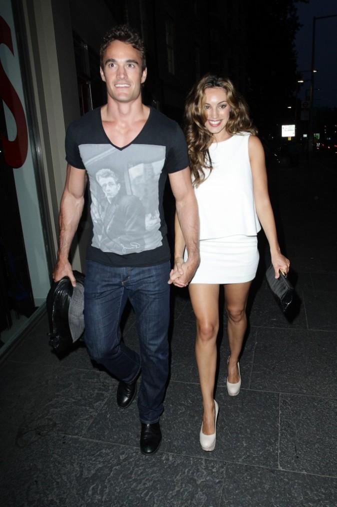 Kelly Brook et son boyfriend Thom Evans lors de la soirée privée Reebok ZigTech et Wallpaper magazine à Londres, le 28 juillet 2011.