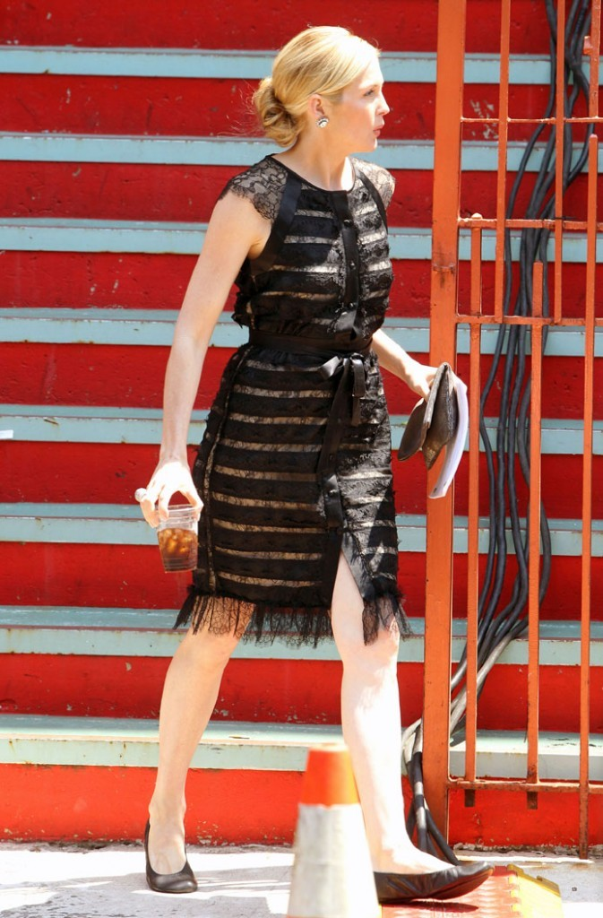Kelly Rutherford sur le tournage de Gossip Girl à New York, le 1er août 2011.