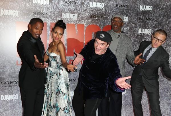 Jamie Foxx, Kerry Washington, Quentin Tarantino, Christoph Waltz et Samuel L. Jackson lors de la première du film Django Unchained à Paris, le 7 j...