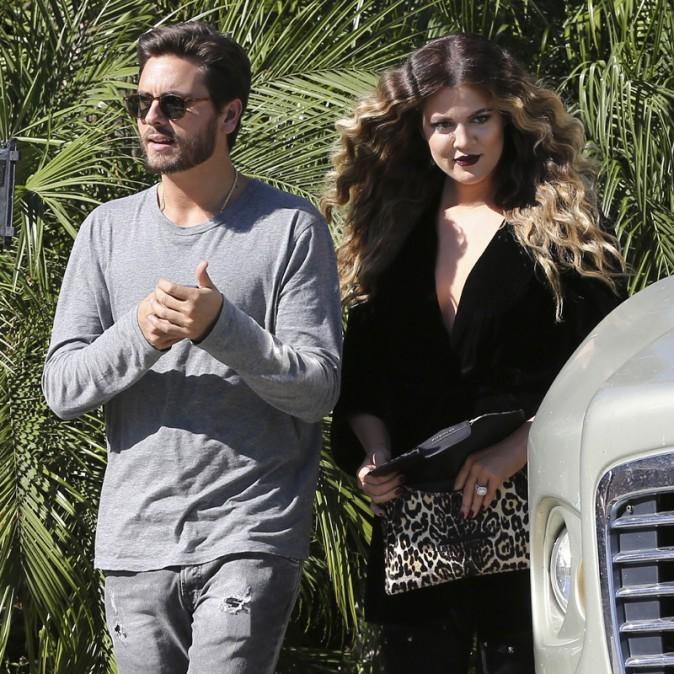 Khloe Kardashian et Scott Disick sur le tournage de L'incroyable Famille Kardashian à Los Angeles le 8 novembre 2013