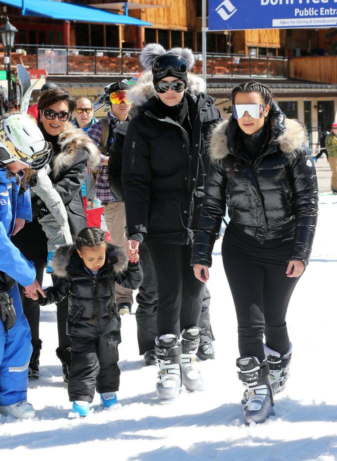 Khloé Kardashian, Kim Kardashian, Kris Jenner et North en vacances à Vail (Colorado), le 7 avril 2016